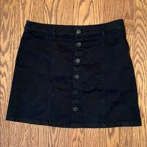 Black Mini-Skirt with Buttons Up Front
